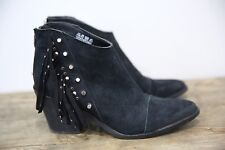 Fergie Women's Black Leather Suede Bennie Ankle Boot Fringe Studded 8.5 M