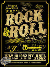 ROCK AND ROLL PARTY NIGHT:RETRO VINTAGE METAL SIGN: HOME BAR:DECOR:MAN CAVE SHED