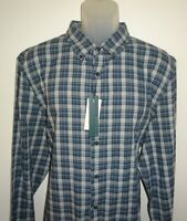 Perry Ellis Mens L/S Shirt Alloy Heather Blue & Gray Check XXL Slim Fit NWT