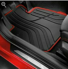 BMW 3 Series F30 Rubber All Weather Floor Mats, Front & Rear Black/Red SPORT AWD