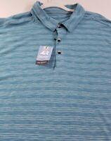 New Van Heusen Air Men's Short Sleeve Polo Shirt 2XL Blue White Stripes Classic