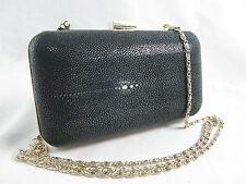 Genuine Polished Stingray Skin Evening Box Clutch Black Shoulder Bag FREE SHIP