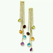 14k Yellow Gold Earrings With Multi-Color Gemstones