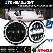 "2x 7"" Round LED Headlights Halo DRL Hi-Lo DOT Lamp for For 90-97 Mazda Miata MX5"