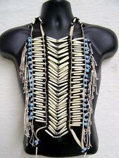 HAND CRAFTED NATIVE AMERICAN STYLE REGALIA HAIRPIPE WHITE/BLUE BEADS BREASTPLATE