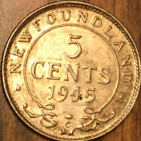 1945 NEWFOUNDLAND SILVER 5 CENTS