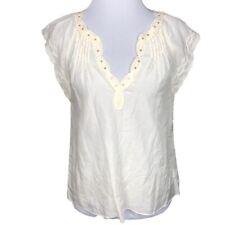 Leifsdottir Top Silk Blend Sheer Pintuck Lace Blouse 4 Cream White Short Sleeve