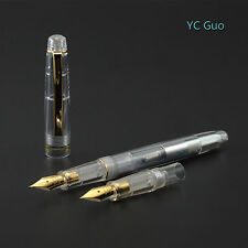 2016 Fresh Model Wing Sung 659 Transparent Fountain Pen With 2 Nibs Golden Clip
