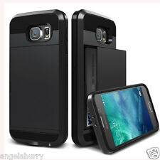 Black Galaxy S5 Slide Card Armor Hard Tough Heavy Duty Case Cover for Samsung