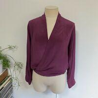 Maurie & Eve Size 10 Blouse Purple Silk V-Neck Faux Wrap Top Long Sleeve