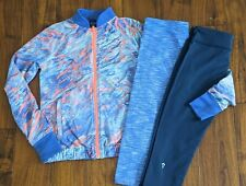 Girls Ivivva Clothing Lot Sz 12/14 Jacket + 2 Capri Cropped Pants Purple Orange