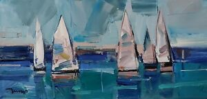 JOSE TRUJILLO Oil Painting IMPRESSIONISM SAILBOATS SAILING MODERN EXPRESSIONISM