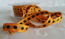 MAY ARTS RIBBONS~SOLID ORANGE WITH BLACK CENTER DOT RIBBON~3/8TH INCH X 3 YDS!