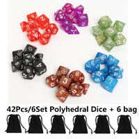42Pcs 6 Set Acrylic Polyhedral Dice + Bag For DND RPG MTG Board Game Pathfinder