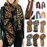 Ladies Women Leopard Animal Print Airy Soft-touch Rectangle Long Neck Scarf UK