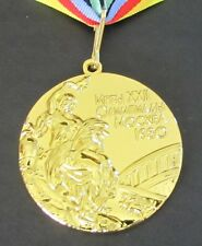 GOLD MEDAL - 1980 MOSCOW OLYMPICS - WITH SILK RIBBON & STORAGE POUCH