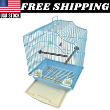SMALL Bird Cage Kit Starter Set Perches Swing Feeders Scalloped Top Bird BLUE