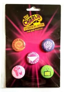 NEW CHARLIE AND THE CHOCOLATE FACTORY THE MUSICAL BUTTONS SET BROADWAY SHOW PINS