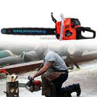 "22"" Bar Gas Chainsaw 52cc Chain Saw Cutting Wood 2 Cycle Engine Gasoline"