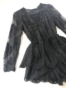 Ministry Of Style Black Lace Short Jumpsuit Romper XS 6