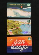 NEW 2020 Starbucks Lot of 3 San Diego, Orange County & California Gift Cards HTF