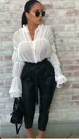 New Womens Ladies Chiffon Flare Bell Sleeve Tie Up Cropped Top Blouse Top Shirt