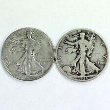 Group Lot of 2 Walking Liberty Silver Half Dollars 90% Silver
