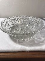 Decorative Clear Glass Serving Bowl Embossed pattern 10 in wide used
