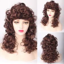 Long Curly Wig w/ bangs Victorian Era Full Body Spiral Curls Gypsy Fashion Style