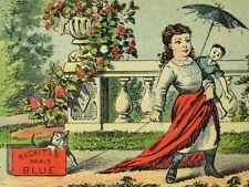 1870's-80's Reckitt's Paris Blue Girl Doll Pulling Cat Contest Trade Card F76
