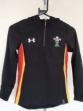 WALES RUGBY BLACK HOODED JACKET BY UNDER ARMOUR SIZE BOYS EXTRA SMALL BRAND NEW