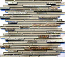 Sample- Natural Stone Matte & Crystal Glass Blend Mosaic Tile Backsplash Kitchen