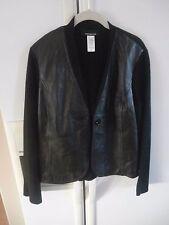 euc rare jones new york modern leather front black cardigan M