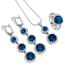 Lady 925 Silver Ruby Crystal Necklace Pendant Rings Earrings Jewelry Set Wedding