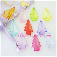 20Pcs Mixed Plastic Acrylic Clear Christmas Tree Charms Pendants 15x24mm