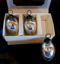Set of 3 Silver POTTERY BARN MERCURY GLASS EGG ORNAMENTS in Box