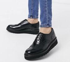 Grenson Emily Flatform Welt Brogues In Black Patent Leather, Size 6 UK