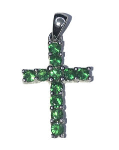 14k White Gold Cross Charm Pendant With Round Emerald Stones.