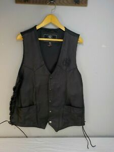 2XL Black Leather Smith & Wesson Embossed Leather Ghost Logo Bikers Vest