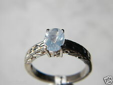 Blue Moon Stone Faceted 8x6mm Oval 1+ct, 925 Silver Engraved Shank Ring Sz8-