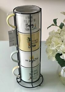 NEXT SET OF 4 STACKING HAPPY SLOGAN MUGS WITH METAL STAND - BRAND NEW
