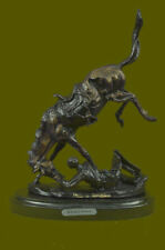 Western Old West Cowboy and Faithful Horse Bronze Sculpture by Remington Figure