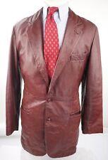 Giorgio Armani Black Label Mens Burgundy Leather 3 Button Blazer Sports Coat 38R