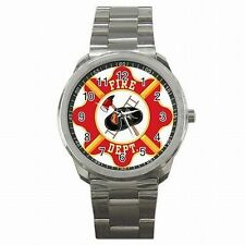 Fire Department Emblem Fire Fighter Fireman Stainless Steel Sport Watch New!