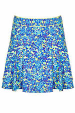 BNWT Topshop Blue Floral Skater Short Skirt, Size 14, RRP £38