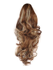 "22 ""cola de caballo Clip en extensiones de cabello ondulado medio brown/blonde Mix # 6/613 inversa"