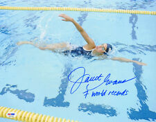 Janet Evans SIGNED 11x14 Photo +7 World Rec Gold Swimmer ITP PSA/DNA AUTOGRAPHED