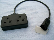 C14 IEC PLUG TO 2 GANG SOCKET ADAPTER  45CM LENGTH
