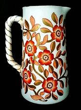 Pointons Stoke On Trent English Pitcher Jug Ewer Orange Flowers Gold Trim