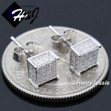 Diamond 3D Push Back Stud Earring*E169 Men Women 925 Sterling Silver 6Mm Icy